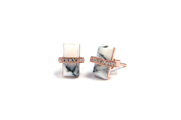 Marble rectangle earrings