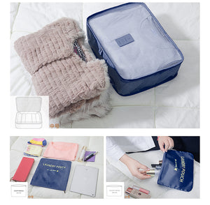 6Pcs Clothes Storage Bags Set Packing Cube Travel Home Luggage Organizer Cyan