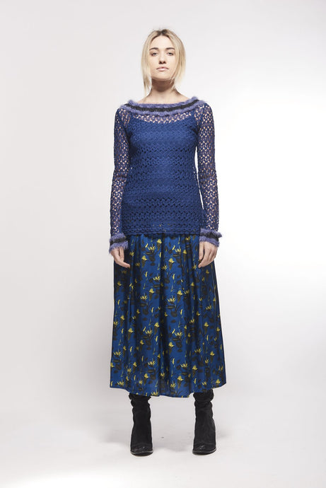 SAVE THE QUEEN Printed Midi Skirt - Lucindas on-line