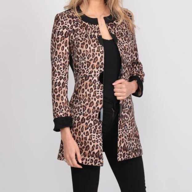 Extenzo leopard print long jacket - Lucindas on-line