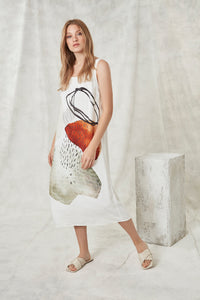 Crea Concept Linen Abstract Print Flowy Dress