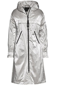 Creenstone Metallic Effect Lightweight Parka in Silver Sorbet