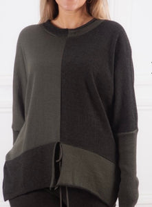Crea two-tone knit jumper