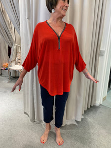 French designer tunic top with zip details - Lucindas on-line