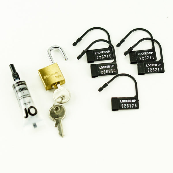 A. L. Enterprises Inc. The Curve Chastity Device Brass Padlock, Plastic Locks, Silicone Lubricant