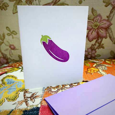 Eggplant Emoji Greeting Card