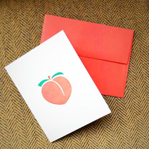 Peach Emoji Greeting Card