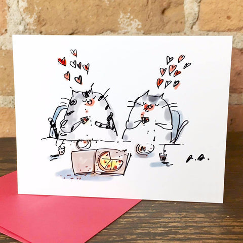 Pizza Cats Greeting Card