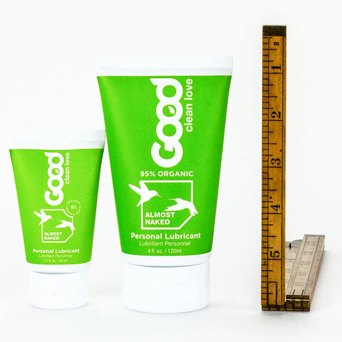 Good Clean Love Almost Naked Water Based Lubricant 1.5 oz and 4 oz Scale Image