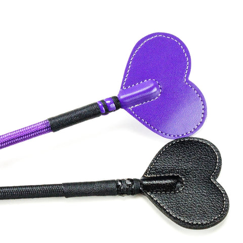 Kookie Intl 20 Inch Heart Riding Crop Purple Black