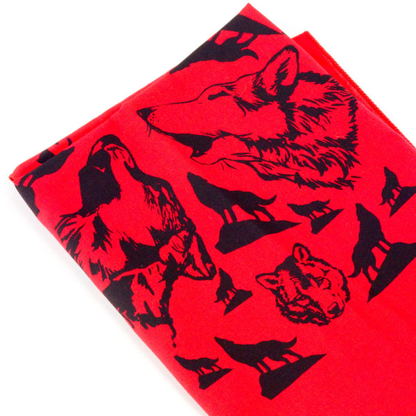 Mary Mack Wolf Hanky Red Black