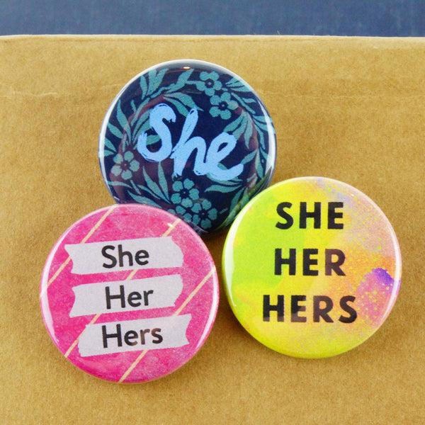 Pronoun Buttons 3 Pack