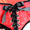 Sportsheets Plus Size Red Lace Corsette Strap On Harness Rear View Close Up