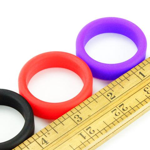 Tantus Super Soft C-Ring Cock Ring Black Red Purple Scale Image