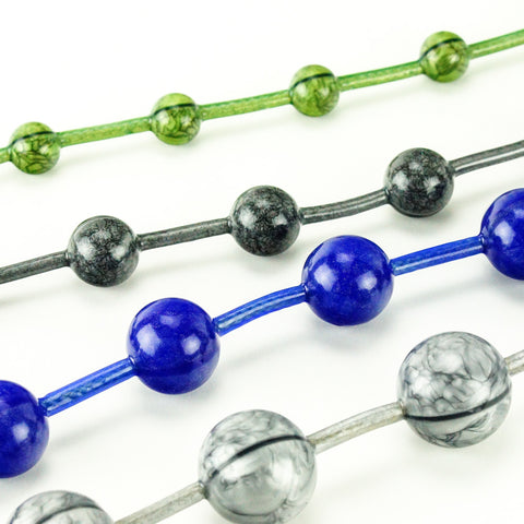 Vixen Creations Gemstones Anal Beads Small Emerald Green Marble, Medium Smoky Onyx, Large Sapphire Blue, Extra Large Silver Marble