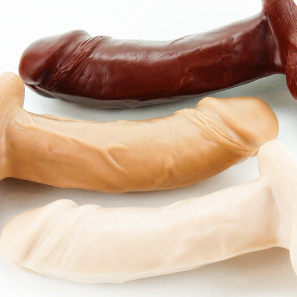 Vixen Creations VixSkin Johnny Dildo Chocolate Caramel and Vanilla Close Up