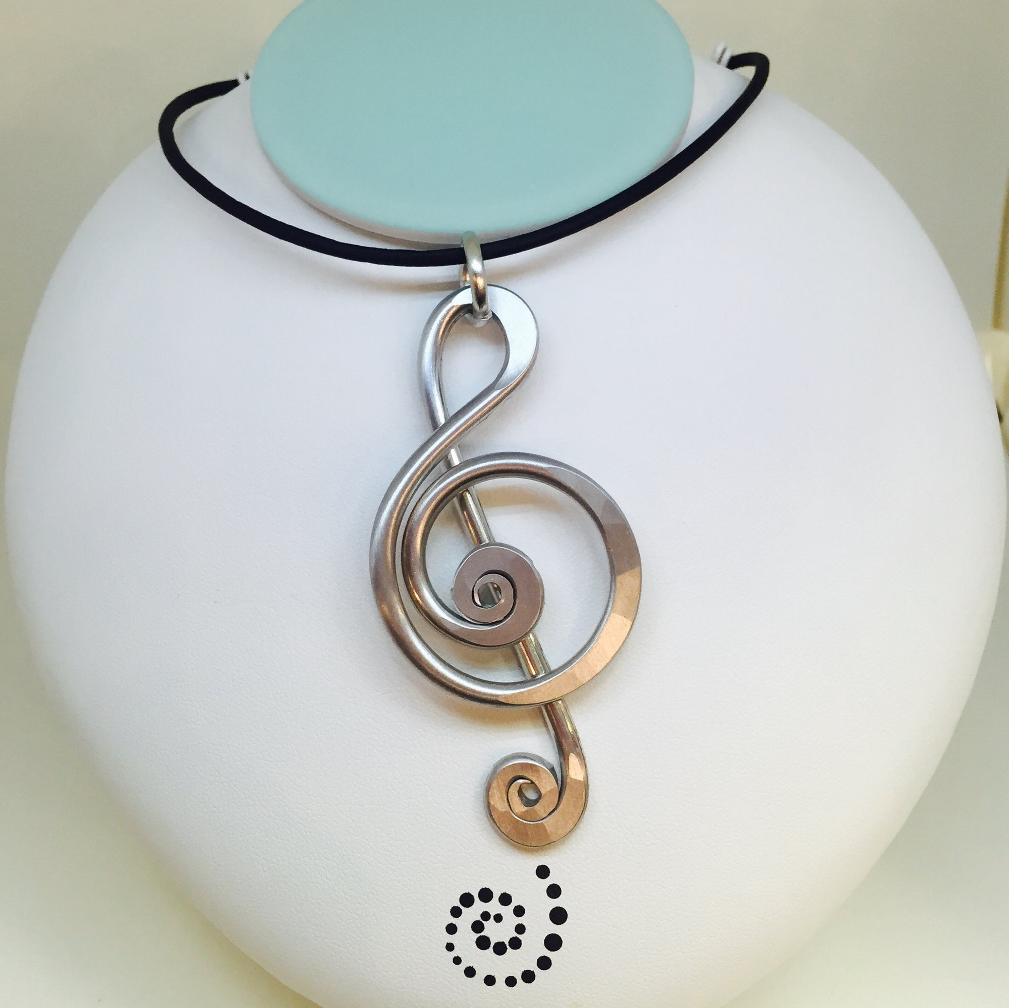 Music Note Necklace With Black Leather