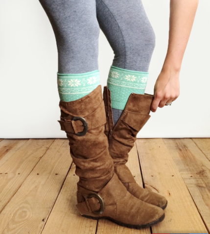 Patterned Boot Cuff-Snowflake Mint/Cream
