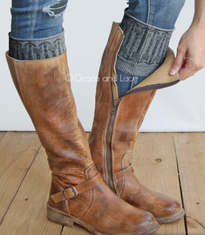 Patterned Boot Cuffs-Grey Arrows