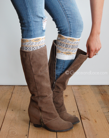 Patterned Boot Cuff-Aztec