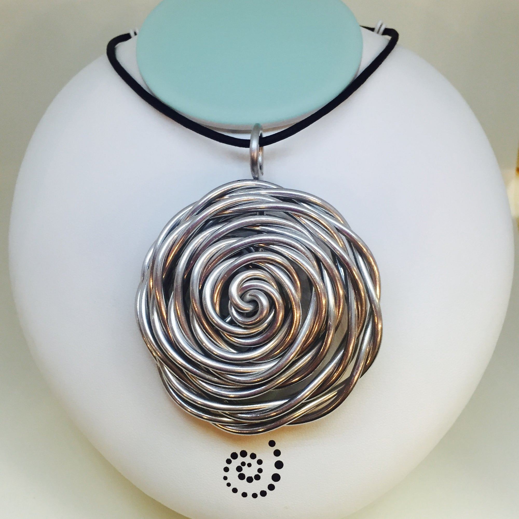 Large Flower Nest Necklace With Black Leather