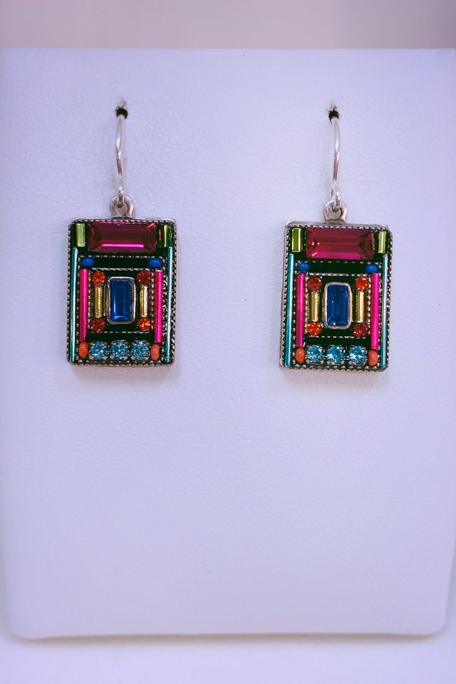 Architectural Rectangular Earring-Multicolor
