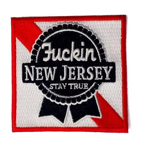 Blue Ribbon F'n Jersey Embroidered Patch - Shady Front / Wholesale Prints, Patches, Buttons, Greetings Cards, New Jersey Apparel, Stickers, Accessories
