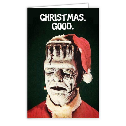 "Frankenstein ""Christmas Good"" Card - Shady Front / Wholesale Prints, Patches, Buttons, Greetings Cards, New Jersey Apparel, Stickers, Accessories"
