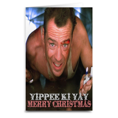 "Die Hard ""Yippee Ki Yay"" Card - Shady Front / Wholesale Prints, Patches, Buttons, Greetings Cards, New Jersey Apparel, Stickers, Accessories"