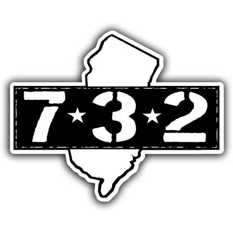 Area Code 732 Sticker - Shady Front / Wholesale Prints, Patches, Buttons, Greetings Cards, New Jersey Apparel, Stickers, Accessories
