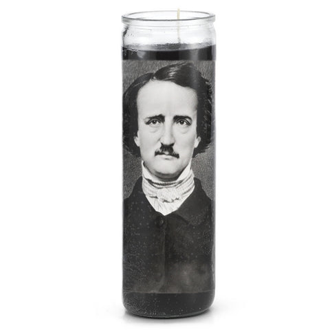 Edgar Allen Poe Prayer Candle - Shady Front / Wholesale Prints, Patches, Buttons, Greetings Cards, New Jersey Apparel, Stickers, Accessories