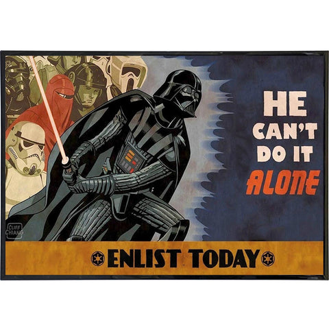 Enlist With Darth Vader Poster Print - Shady Front / Wholesale Prints, Patches, Buttons, Greetings Cards, New Jersey Apparel, Stickers, Accessories