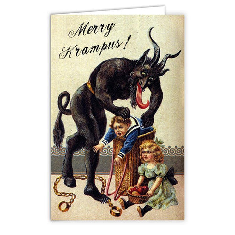 Kid in a Basket Krampus Card - Shady Front / Wholesale Prints, Patches, Buttons, Greetings Cards, New Jersey Apparel, Stickers, Accessories