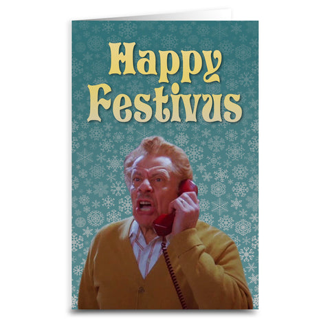 Happy Festivus Card - Shady Front / Wholesale Prints, Patches, Buttons, Greetings Cards, New Jersey Apparel, Stickers, Accessories
