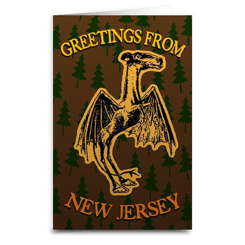 Greetings from the Jersey Devil Card - Shady Front / Wholesale Prints, Patches, Buttons, Greetings Cards, New Jersey Apparel, Stickers, Accessories