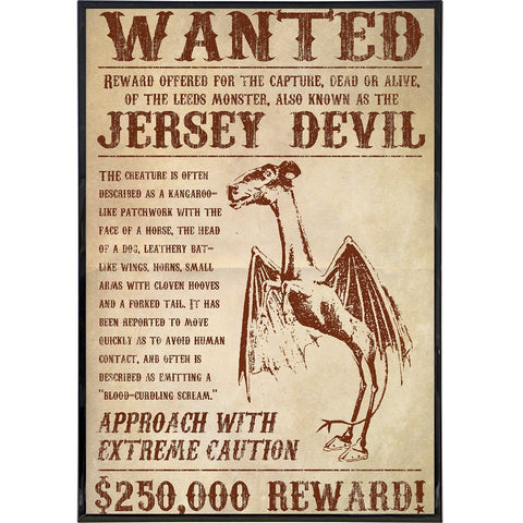 Jersey Devil Wanted Poster Print - Shady Front / Wholesale Prints, Patches, Buttons, Greetings Cards, New Jersey Apparel, Stickers, Accessories