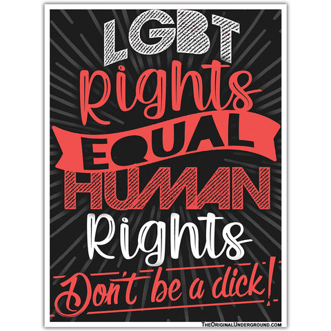 LGBT Rights Equal Human Rights Sticker - Shady Front / Wholesale Prints, Patches, Buttons, Greetings Cards, New Jersey Apparel, Stickers, Accessories