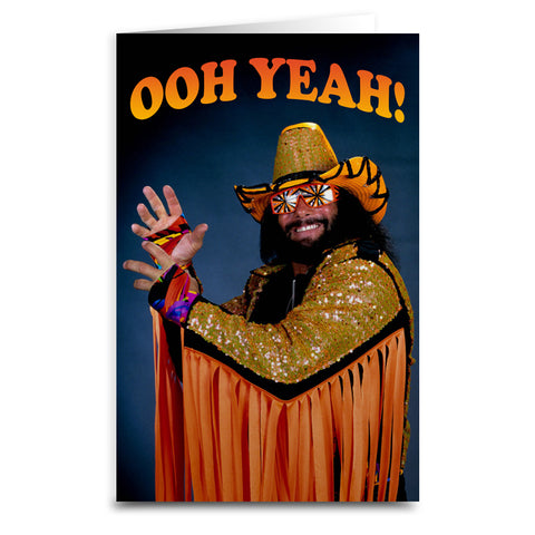 "Macho Man ""Ooh Yeah"" Card - Shady Front / Wholesale Prints, Patches, Buttons, Greetings Cards, New Jersey Apparel, Stickers, Accessories"