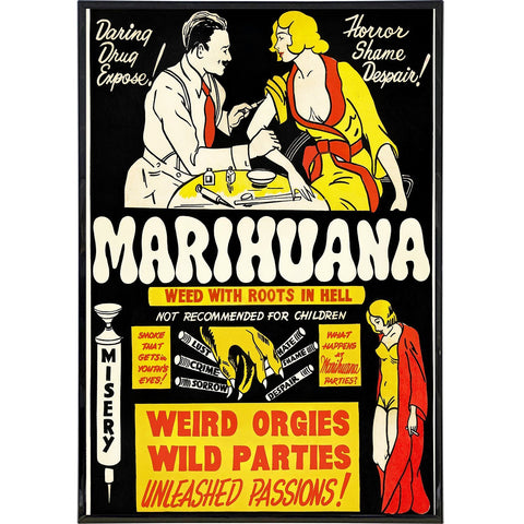 "Marijuana ""Roots In Hell"" Film Poster Print - Shady Front / Wholesale Prints, Patches, Buttons, Greetings Cards, New Jersey Apparel, Stickers, Accessories"