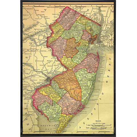 A Map of New Jersey 1895 Print - Shady Front / Wholesale Prints, Patches, Buttons, Greetings Cards, New Jersey Apparel, Stickers, Accessories