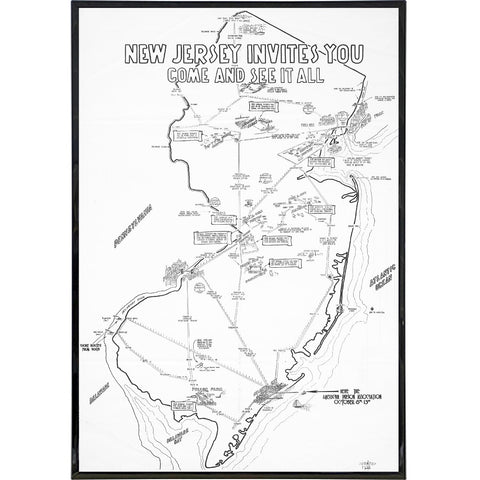New Jersey Prison Association Travel Map Print - Shady Front / Wholesale Prints, Patches, Buttons, Greetings Cards, New Jersey Apparel, Stickers, Accessories