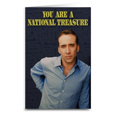 "Nicolas Cage ""National Treasure"" Card - Shady Front / Wholesale Prints, Patches, Buttons, Greetings Cards, New Jersey Apparel, Stickers, Accessories"