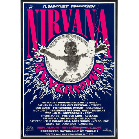 Nirvana Show Poster Print - Shady Front / Wholesale Prints, Patches, Buttons, Greetings Cards, New Jersey Apparel, Stickers, Accessories
