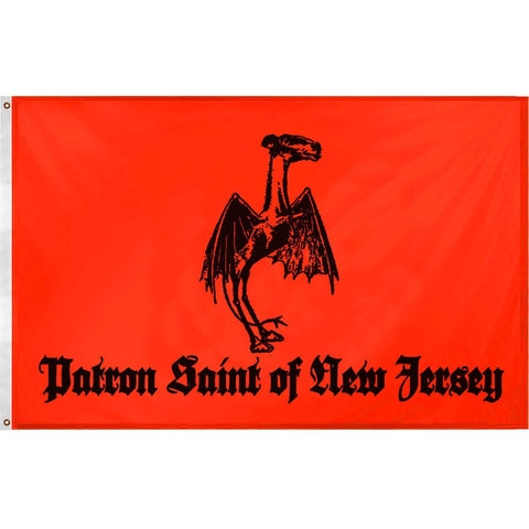 Jersey Devil Patron Saint Flag - Shady Front / Wholesale Prints, Patches, Buttons, Greetings Cards, New Jersey Apparel, Stickers, Accessories