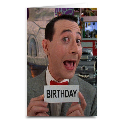 "Pee Wee Herman ""Birthday"" Card - Shady Front / Wholesale Prints, Patches, Buttons, Greetings Cards, New Jersey Apparel, Stickers, Accessories"