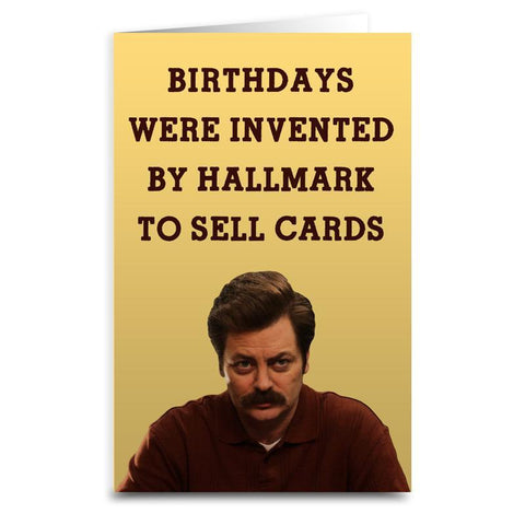 Ron Swanson Card - Shady Front / Wholesale Prints, Patches, Buttons, Greetings Cards, New Jersey Apparel, Stickers, Accessories