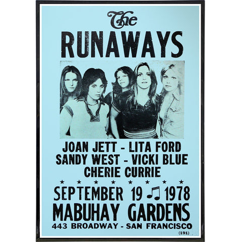The Runaways 1978 Show Poster Print - Shady Front / Wholesale Prints, Patches, Buttons, Greetings Cards, New Jersey Apparel, Stickers, Accessories