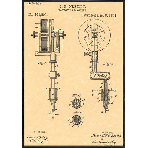 "Samuel O'Reilly ""Tattoo Machine"" Patent Print - Shady Front / Wholesale Prints, Patches, Buttons, Greetings Cards, New Jersey Apparel, Stickers, Accessories"