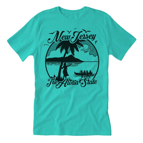 The Aloha State Guys Shirt - Shady Front / Wholesale Prints, Patches, Buttons, Greetings Cards, New Jersey Apparel, Stickers, Accessories