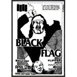 Black Flag Show Poster Print - Shady Front / Wholesale Prints, Patches, Buttons, Greetings Cards, New Jersey Apparel, Stickers, Accessories